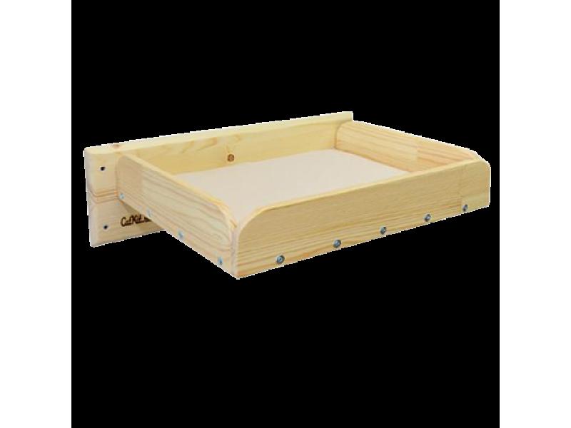 Полка кроватка настенная для кошек Натуральное дерево  - Фото