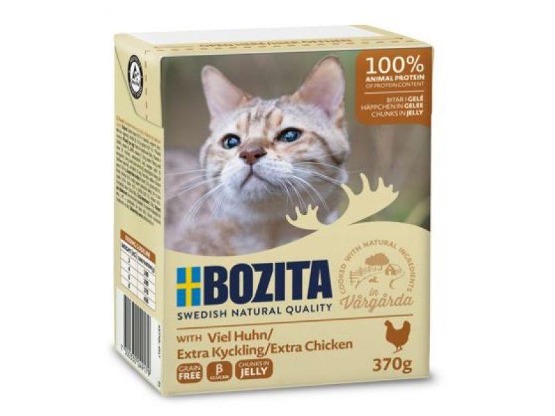 Bozita Feline Кусочки в ЖЕЛЕ с РУБЛЕННОЙ КУРИЦЕЙ (Minced Chicken), для кошек, 370 гр    - Фото