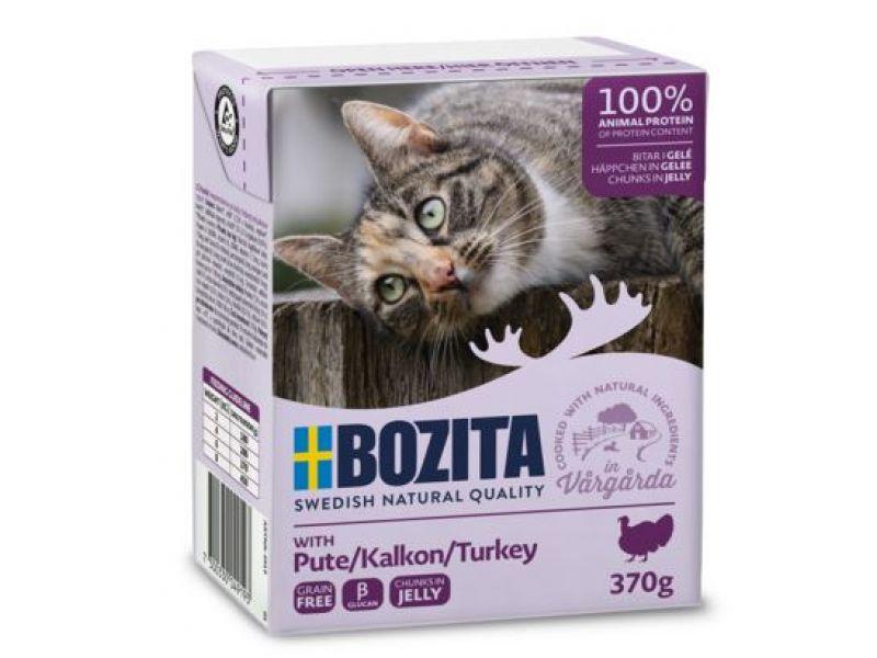 Bozita Feline Кусочки в ЖЕЛЕ с РУБЛЕННОЙ ИНДЕЙКОЙ (Minced Turkey), для кошек, 370 гр   - Фото