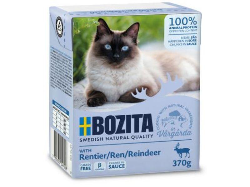 Bozita Feline Кусочки в СОУСЕ с мясом ОЛЕНЯ (Reindeer), для кошек, 370 гр    - Фото