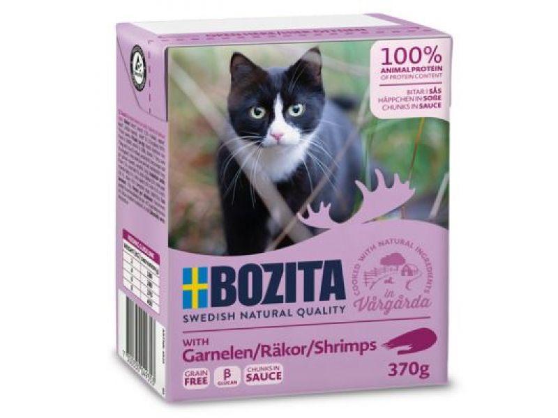 Bozita Feline Кусочки в СОУСЕ с КРЕВЕТКАМИ (Shrimps), для кошек, 370 гр    - Фото