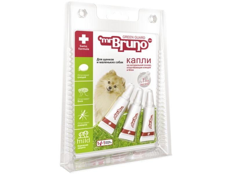 Mr.Bruno Капли репеллентные для щенков и мелких собак весом менее 10 кг, 3шт по 1 мл - Фото