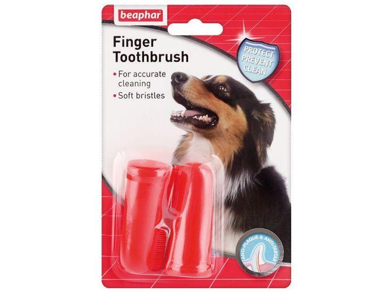Beaphar Зубная щетка двойная, на палец, для собак и щенков (Finger Toothbrush 74561) - Фото