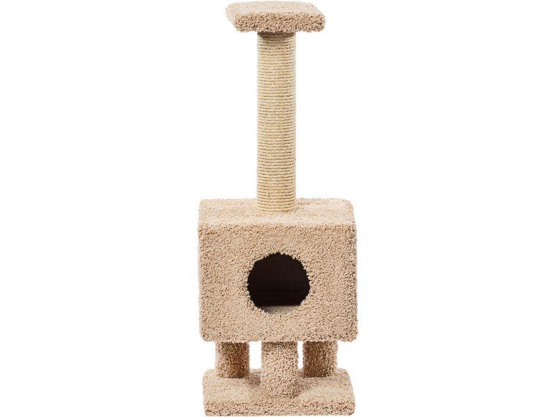 """Пушок Домик """"Квадратный на ножках"""", ковролин, для кошек, 38*38*102 см  - Фото"""