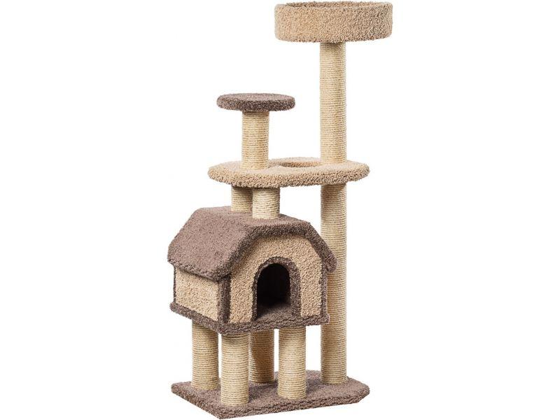 """Пушок Домик """"Конура на высоких ножках"""", ковролин, для кошек, 67*46*148 см - Фото"""
