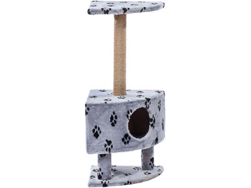 """Пушок Домик """"Угловой на ножках"""", искусственный мех, для кошек, 42*42*99 см - Фото"""