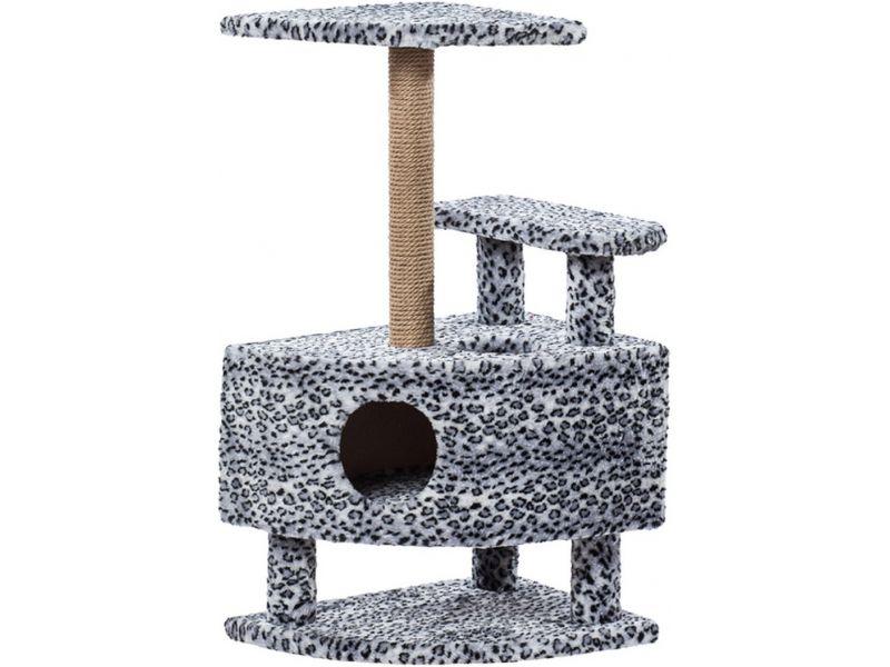 """Пушок Домик """"Угловой со ступенькой на ножках"""", искусственный мех, для кошек, 57*42*99 см - Фото"""