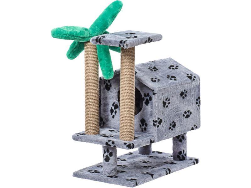 """Пушок Домик """"Тропический на ножках"""", искусственный мех, для кошек, 62*37*73 см - Фото"""