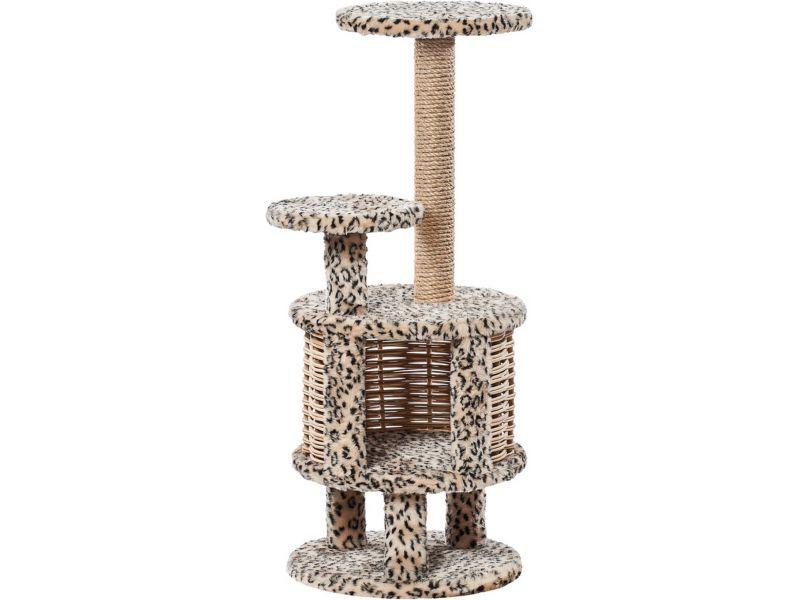 """Пушок Домик """"Круглый с плетеными стенками"""", искусственный мех, для кошек, 41*100 см  - Фото"""
