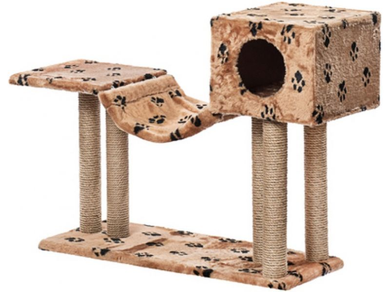 """Пушок """"Домик с гамаком"""", искусственный мех, для кошек, 92*36*80 см - Фото"""