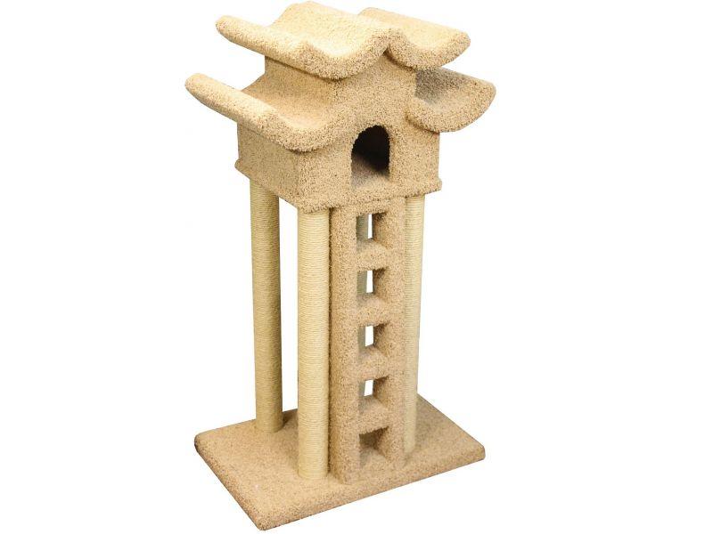"""Пушок Домик """"Пагода с лестницей"""", ковролин, для кошек, 85*70*155 см   - Фото"""