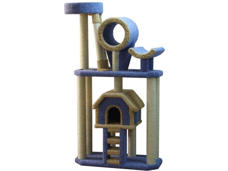 """Пушок """"Большой комплекс с лестницей"""", ковролин, для АКТИВНЫХ кошек, 90*50*180 см  - Фото"""