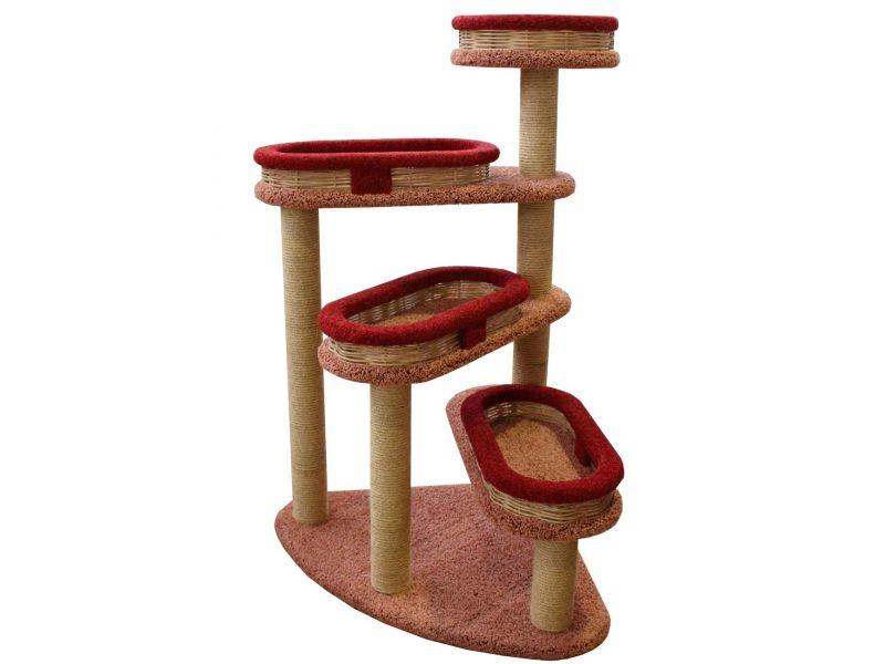 """Пушок Когтеточка """"Винтовая лестница с плетеными лежанками"""", ковролин, для кошек, 84*84*143 см  - Фото"""