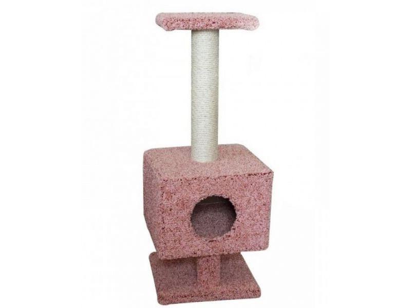 """Пушок Домик """"Квадратный на ножках"""", ковролин, для кошек, 38*38*100 см  - Фото"""