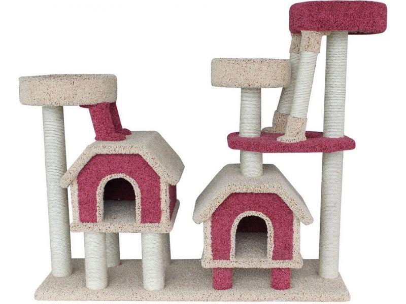 """Пушок Комплекс """"Две конуры"""", ковролин, для АКТИВНЫХ кошек, 142*47*130 см  - Фото"""