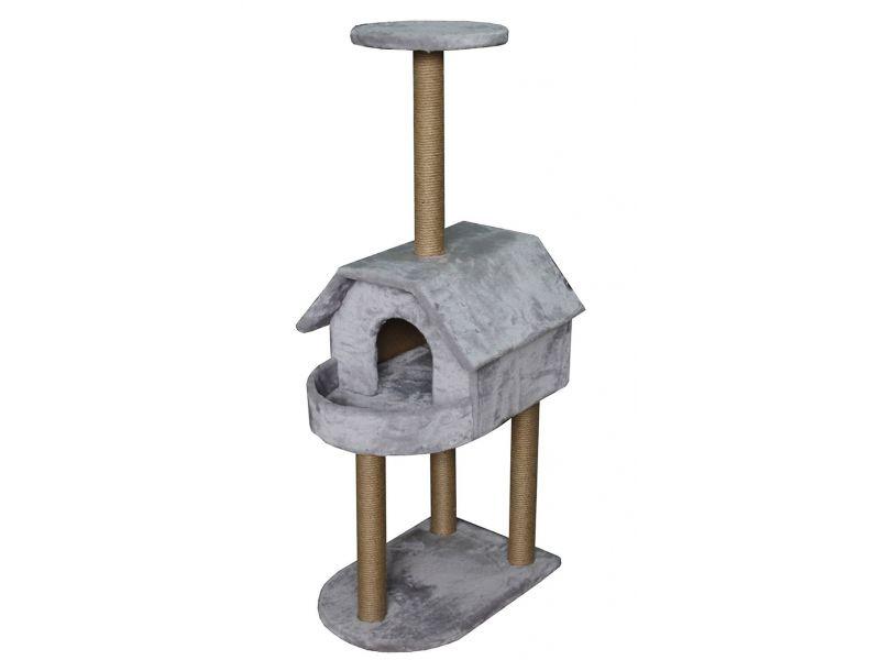 """Пушок """"Домик с балконом"""", искусственный мех, для кошек, 62*50*140 см - Фото"""