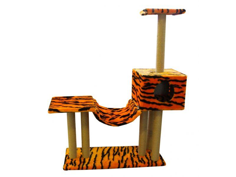 """Пушок """"Домик с гамаком и площадкой"""", искусственный мех, для кошек, 85*35*132 см  - Фото"""
