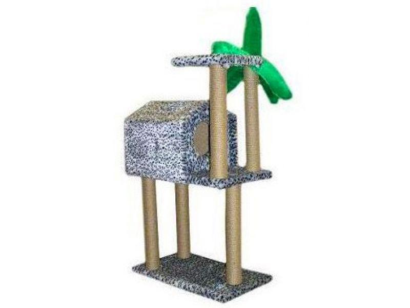 """Пушок Домик """"Тропический на высоких ножках"""", искусственный мех, для кошек, 72*54*105 см - Фото"""