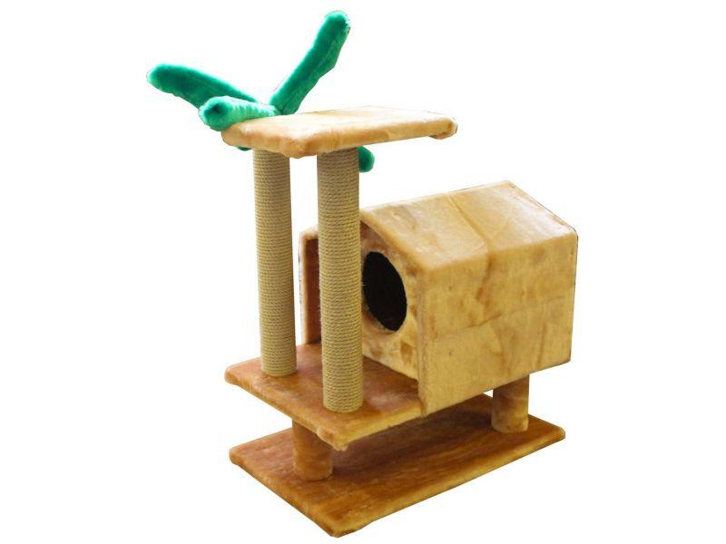 """Пушок Домик """"Тропический на ножках"""", искусственный мех, для кошек, 72*54*73 см - Фото"""