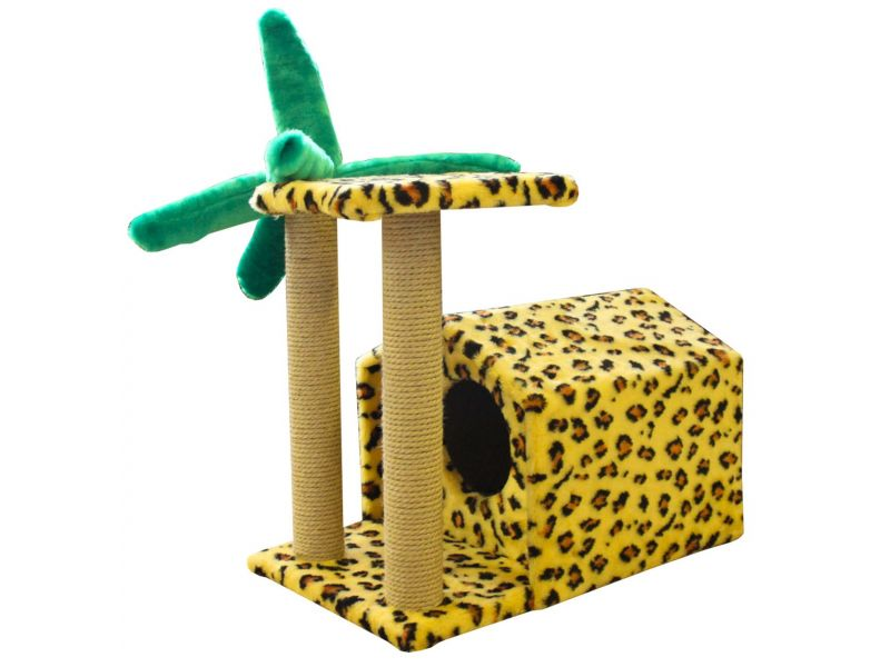 """Пушок Домик """"Тропический"""", искусственный мех, для кошек, 72*54*54 см - Фото"""