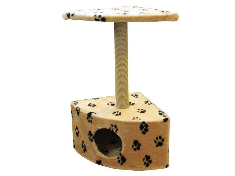 """Пушок Домик """"Угловой"""", искусственный мех, для кошек, 43*43*80 см - Фото"""