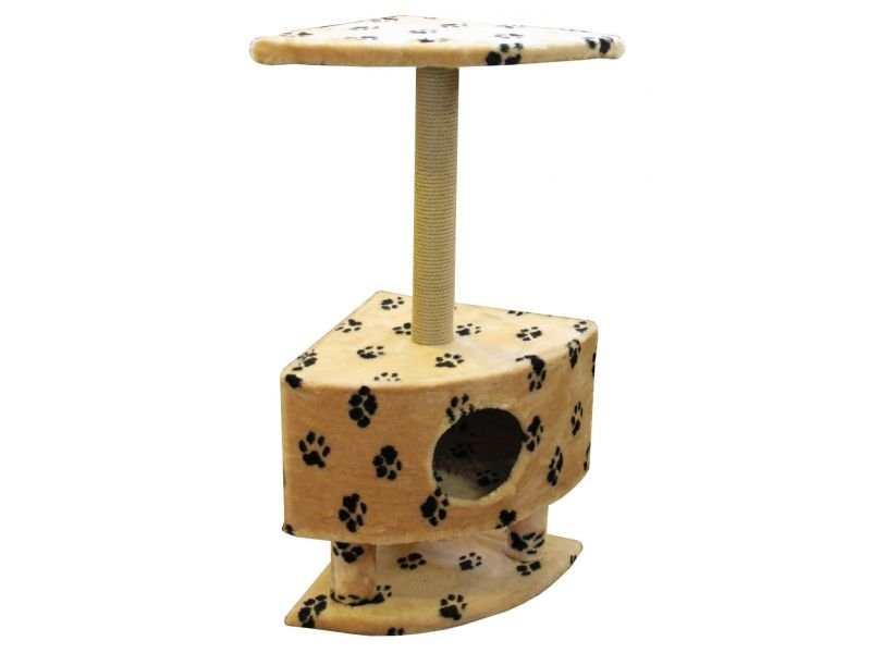 """Пушок Домик """"Угловой на ножках"""", искусственный мех, для кошек, 43*43*98 см - Фото"""
