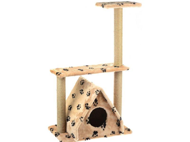 """Пушок Домик """"Избушка с тремя когтеточками"""", искусственный мех, для кошек, 67*41*106 см - Фото"""