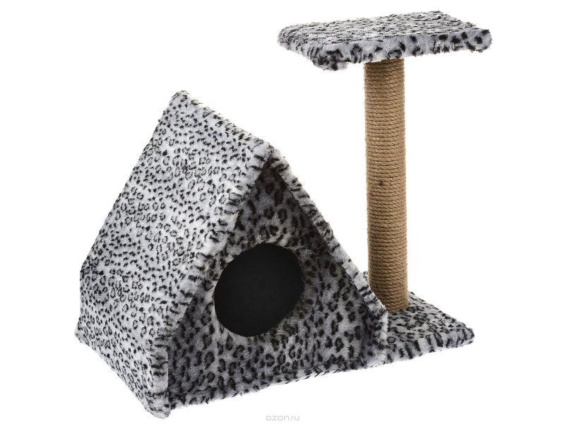 """Пушок Домик """"Избушка"""", искусственный мех, для кошек, 64*41*54 см - Фото"""