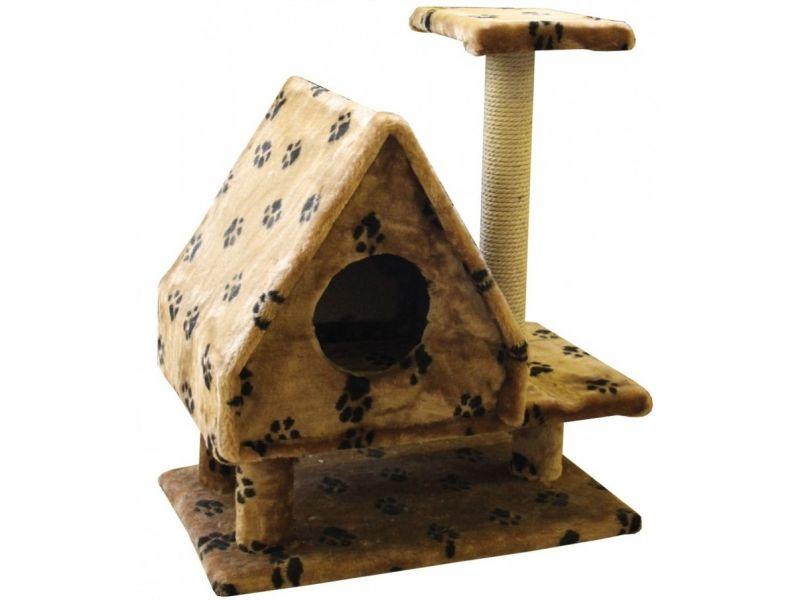 """Пушок Домик """"Избушка на ножках"""", искусственный мех, для кошек, 64*41*73 см  - Фото"""