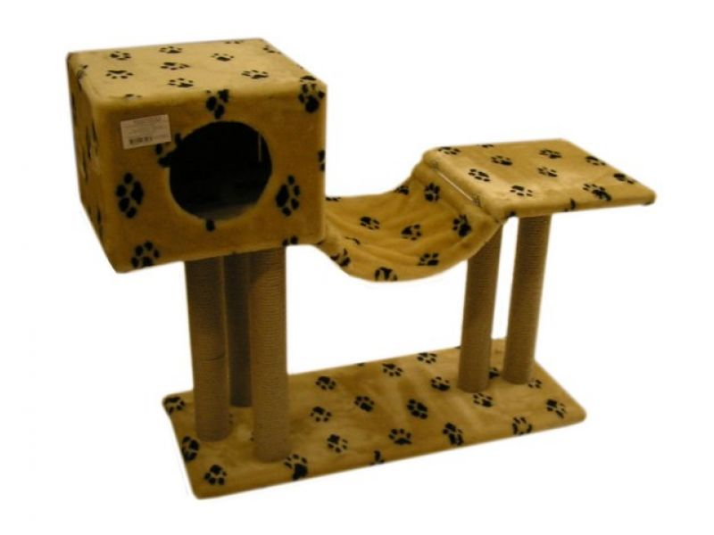 """Пушок """"Домик с гамаком"""", искусственный мех, для кошек, 85*35*80 см - Фото"""