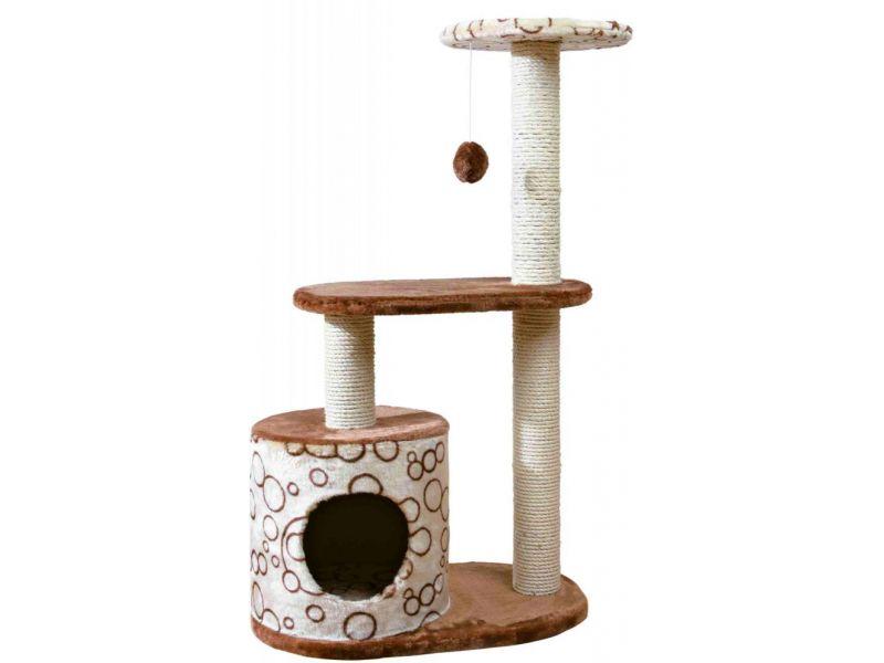 """Trixie Домик для кошки меховой """"Casta"""" (44590), бежевый/коричневый, 55*35*95 см - Фото"""