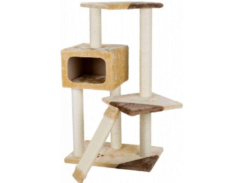 """Trixie Домик для кошки меховой """"Almeria"""" (43601), бежевый/коричневый, 59*39*106 см - Фото"""