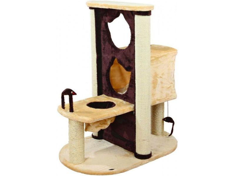 """Trixie Домик для кошки меховой """"Amelia"""" бежевый/коричневый (44791), 80*51*93 см - Фото"""
