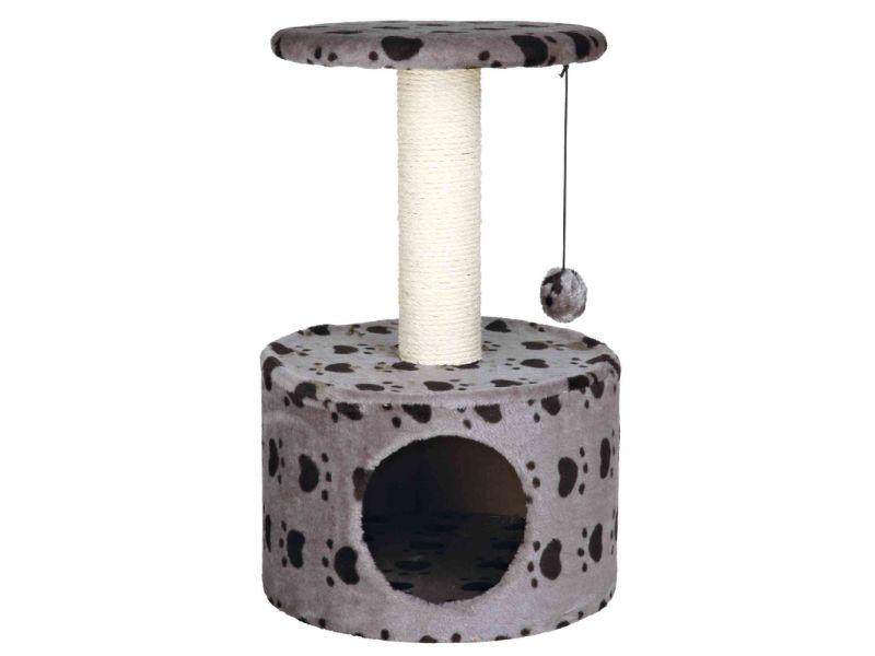 "Trixie Домик для кошки меховой Toledo с рисунком ""кошачьи лапки"" (43705), серый, 61 см - Фото"