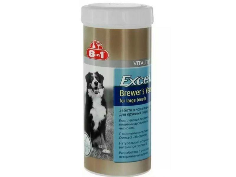 Комплексная добавка 8 в 1 с ПИВНЫМИ ДРОЖЖАМИ & ЧЕСНОКОМ для собак КРУПНЫХ ПОРОД (Excel Brewers Yeast for Large Breeds), 80 таб. - Фото