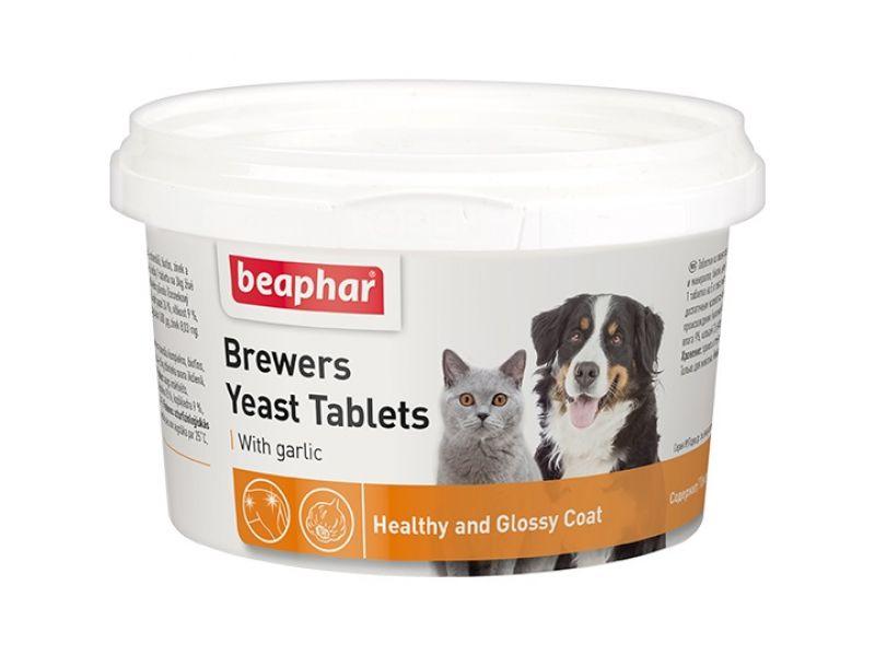 Beaphar Витамины с ПИВНЫМИ ДРОЖЖАМИ и ЧЕСНОКОМ, для собак и кошек  (Brewers Yeast with garlic), 250 шт. - Фото