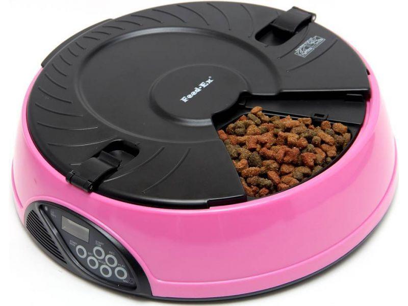 Автокормушка Feedex для сухого корма и консерв, для кошек и собак (розовая) PF6Р, 6 кормлений  - Фото