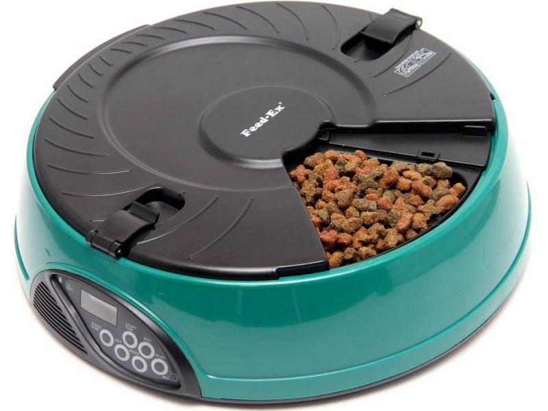 Автокормушка Feedex для сухого корма и консерв, для кошек и собак (зеленая) PF6G, 6 кормлений  - Фото