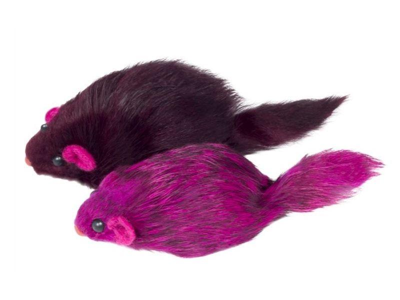 """Triol Игрушка """"Мышка цветная"""", для кошек, натуральный мех, 7 см, 1 шт.   - Фото"""