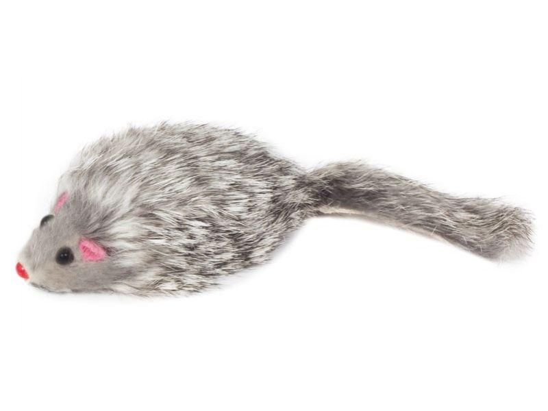 """Triol Игрушка """"Мышка серая"""", для кошек, натуральный мех, 7 см  - Фото"""