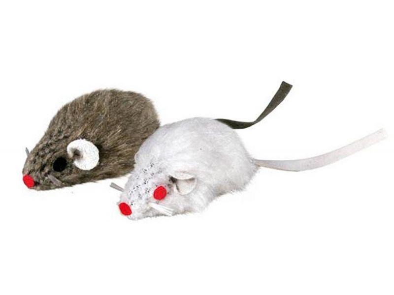 Trixie Набор игрушек - две мышки, для кошек, серая/белая, натуральный мех, 5 см (4069)  - Фото