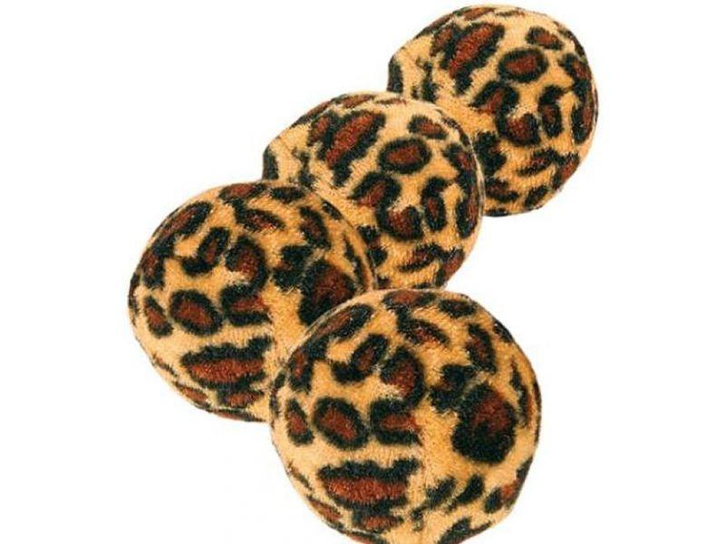 """Trixie Набор мячиков """"Леопард"""" для кошек, плюш, 3,5 см, 4 шт. (4109) - Фото"""