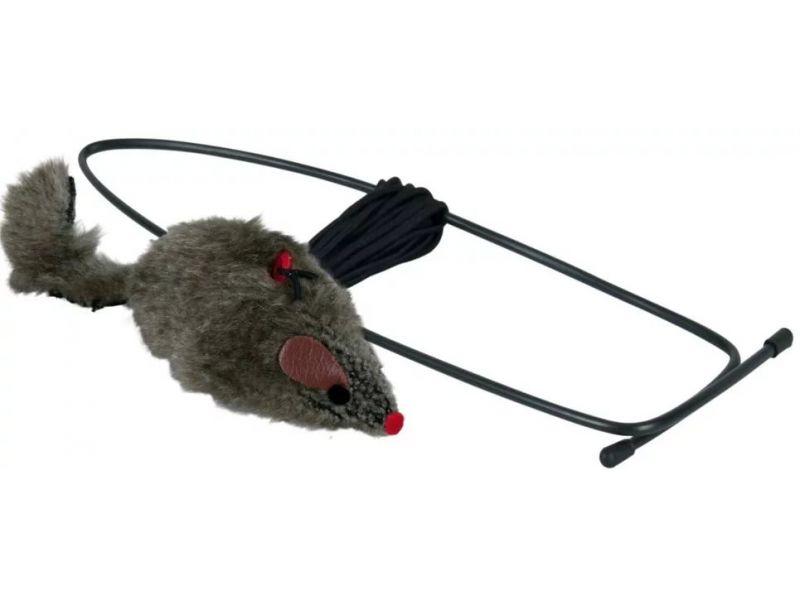 """Игрушка Trixie для кошек - """"Мышь"""" на резинке с креплением на дверной проем (4065), 8*190 см - Фото"""
