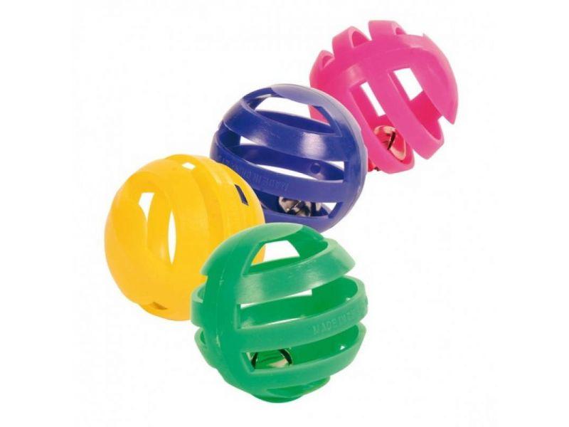 Trixie Набор разноцветных мячиков с колокольчиком, для кошек, 4 см, 4 шт. (4521)  - Фото