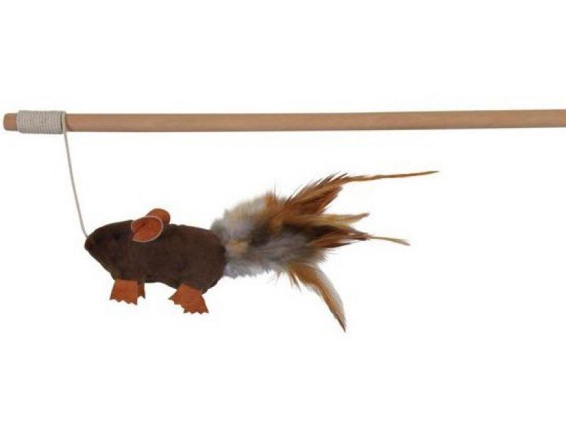 Trixie Удочка-дразнилка с мышкой из натуральных материалов, для кошек, 50 см (45801) - Фото