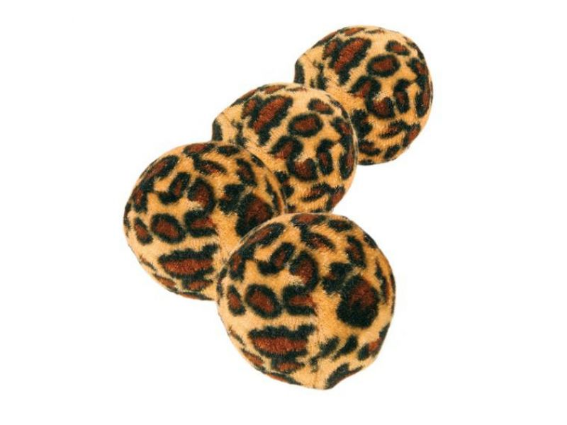 Игрушка Trixie для кошек - Набор мячиков из 4 шт, леопард (4109), 3,5 см - Фото