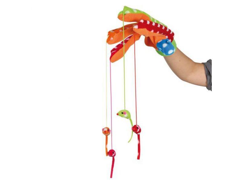 """Игрушка Trixie для кошек - """"Перчатка с игрушками"""" цветная (45631), 34 см - Фото"""