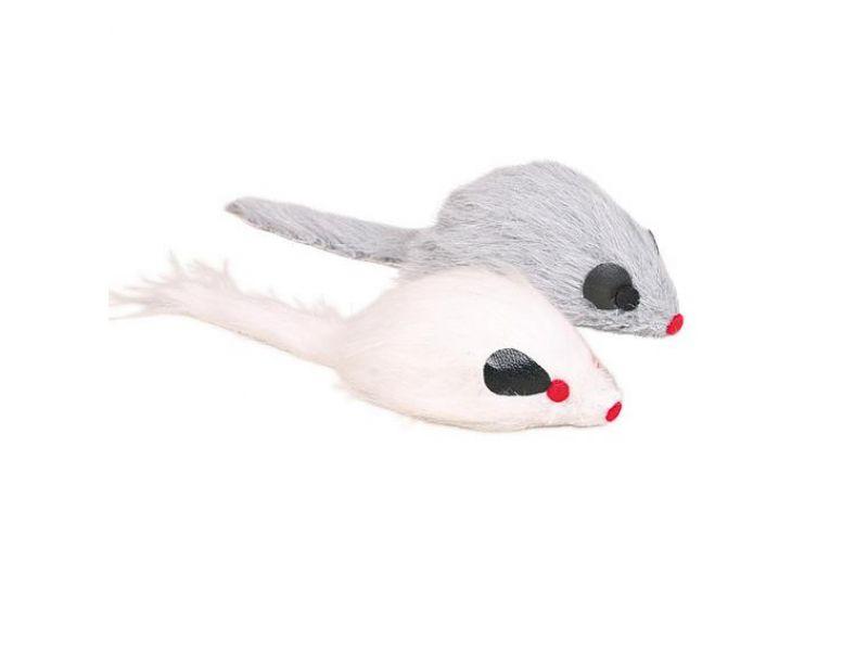 Игрушка Trixie для кошек - 1 бело-серая мышка (4116), 9 см - Фото