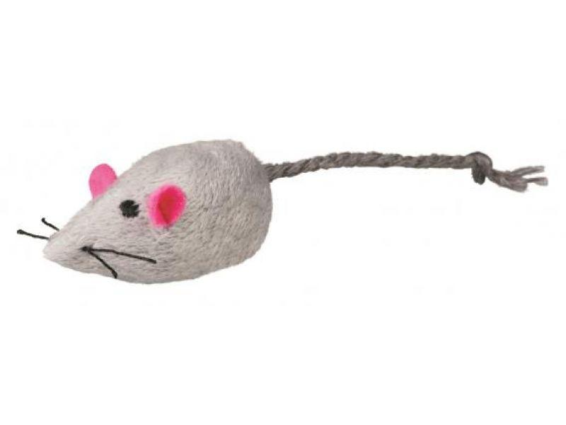 Игрушка Trixie для кошек - 1 мягкая мышка с колокольчиком (4055), 5 см - Фото