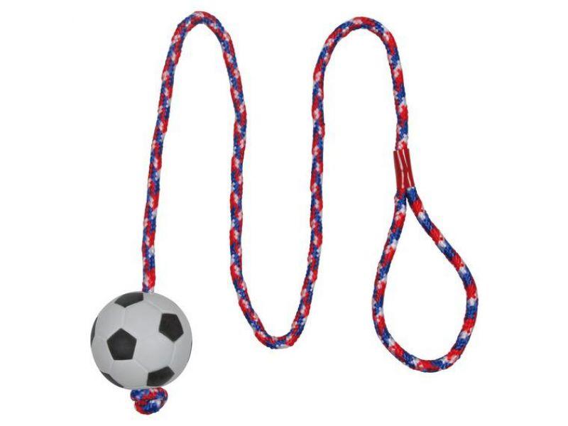 """Trixie Игрушка """"Мяч на веревке"""" для игр на воде, для собак, мягкая резина (3307), 6*100 см  - Фото"""